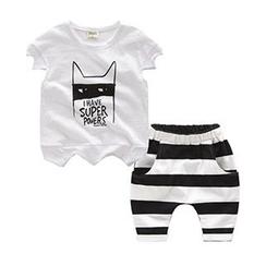 Kido - 小童套装: 卡通印花T恤 + 条纹短裤