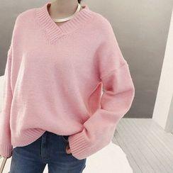 NANING9 - V-Neck Oversized Sweater