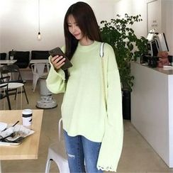 QNIGIRLS - Distressed Sleeve Knit Top