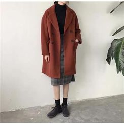 ALIN STYLE - Notch Lapel Double-Breasted Coat