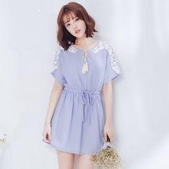 Tokyo Fashion - Lace Panel Short-Sleeve Drawstring Waist Dress