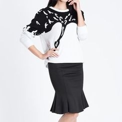 Obel - Set: Printed Long-Sleeve Top + Pleated Mermaid Skirt