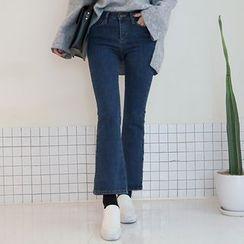 DABAGIRL - Slit-Hem Boot-Cut Jeans