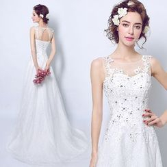 Angel Bridal - Sleeveless Lace Sheath Evening Gown
