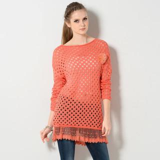 59 Seconds - Open-Knit Peplum Hem Sweater + Tulle Brooch