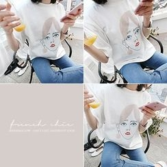 MARSHMALLOW - Elbow-Sleeve Printed T-Shirt