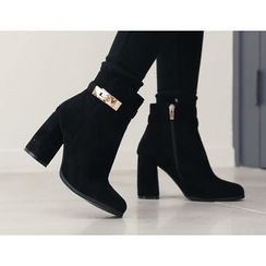 DANI LOVE - Metal-Buckle Chunky-Heel Ankle Boots