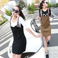 CHERJOE - Color Block Strap Knitted Pinafore Dress