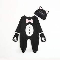 MOM Kiss - Baby Set: Cat One-Piece + Ear Hat + Gloves