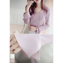 MyFiona - Faux-Pearl Button Double-Breasted Chiffon Top