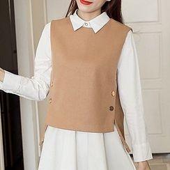 Shiga - 套裝: 長袖襯衫裙 + 馬甲