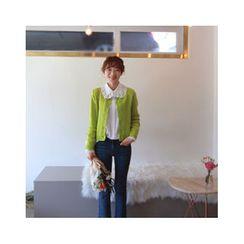 LEELIN - Round-Neck Wool Blend Cardigan