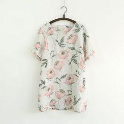 Ranche - Short-Sleeve Floral Linen Top