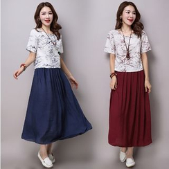 Salisha - Set: Printed Short Sleeve T-Shirt + Maxi Skirt