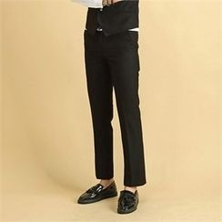 THE COVER - Flat-Front Plain Dress Pants