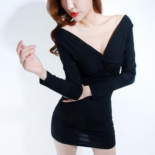 Miss Aries - Deep V-Neck Bodycon Dress