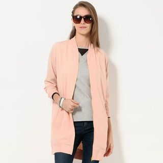 YesStyle Z - Mandarin-Collar Chiffon Long Jacket