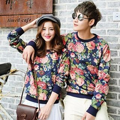 Azure - Couple Floral Print Pullover