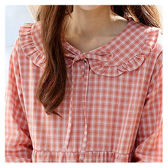 Sechuna - Peter Pan Collar Checked Dress