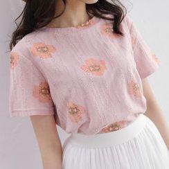 Tokyo Fashion - Short-Sleeve Distressed Printed Top