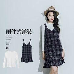 PUFII - Set: Long Sleeve Tee + Plaid Dress