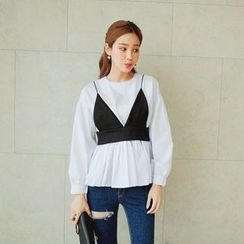 Cherryville - Set: Bustier Top + Ruffle-Hem Blouse