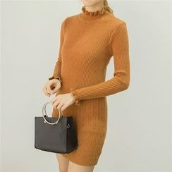 Honey House - Frill Collar Ribbed Sweater Dress