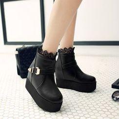 Pastel Pairs - Lace Trim Platform Short Boots