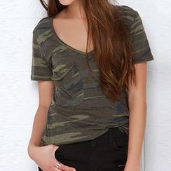 Obel - Camouflage V-Neck Short-Sleeve T-Shirt