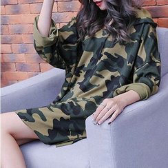 Fashion Street - Camo Hooded Long-Sleeve T-Shirt Dress