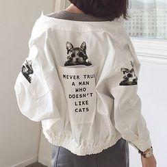 TriStyle - Cat Print Snap-Button Jacket