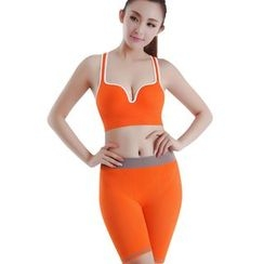 Delico - Set: Neon Color Sports Bra + Sports Tight Shorts