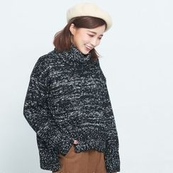 BAIMOMO - 高領混色毛衣