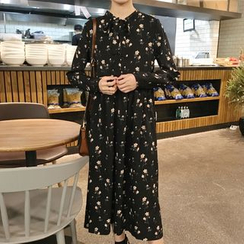 Queen Bee - Floral Print Long-Sleeve Chiffon Dress