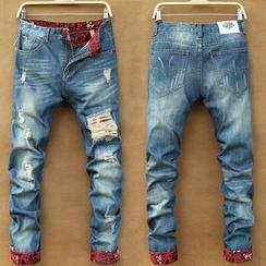 JORZ - 印花拼接做舊牛仔褲