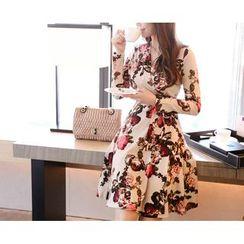 Marlangrouge - Floral Print A-Line Wrap Dress