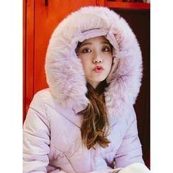 icecream12 - Faux-Fur Hood Long Padded Coat