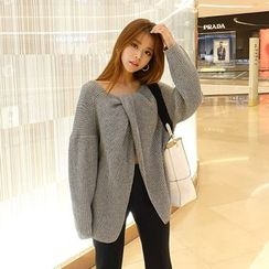 DABAGIRL - Slit-Front Two-Way Rib-Knit Sweater