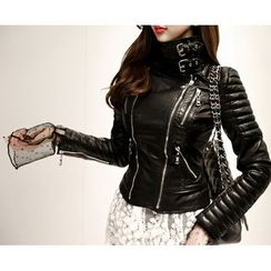 Marlangrouge - Faux-Leather Zip Rider Jacket