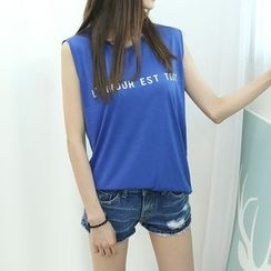 Dodostyle - Lettering Sleeveless Top