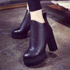 Sleeko - Chunky-Heel Platform Ankle Boots