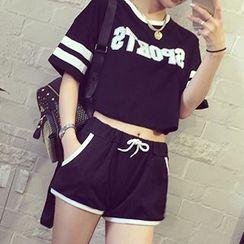 YOSH - 套裝: 印字T恤 + 運動短褲