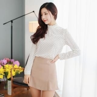 MELT - Polka Dot Mock-Neck Blouse
