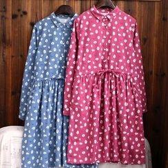 tete - 長袖抽繩印花連衣裙
