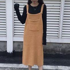 Octavia - Pocketed Ribbed Knit Pinafore Dress