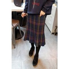 CHERRYKOKO - Accordion-Pleat Plaid Wool Blend Midi Skirt