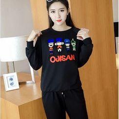 Oaksa - Set: Cartoon Applique Sweatshirt + Sweatpants