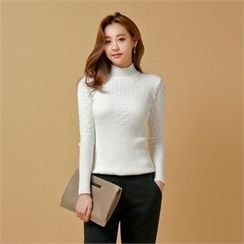 Styleberry - Frill-Neck Pointelle-Knit Sweater