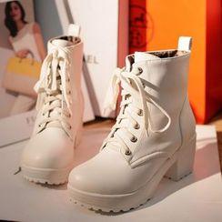 TULASI - Lace-Up Chunky Heel Platform Short Boots