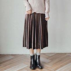 AC - Pleated Velvet Midi Skirt